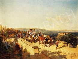 Markó, András - Italian family crossing a bridge in an Italian landscape, 1871