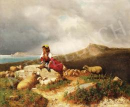 Markó, András - Seaside in Italy with shepherdess, 1886