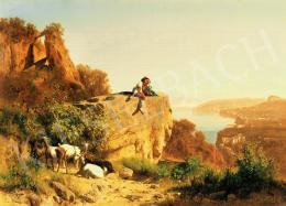 Markó, András - Landscape in Italy with shepherd, 1886