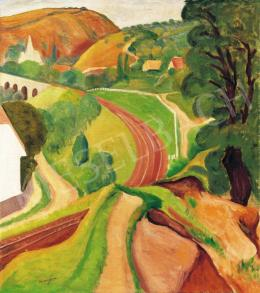 Vörös, Géza - Hilly landscape with bridge, 1936