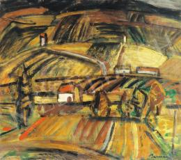 Barcsay Jenő - Dombos táj házzal