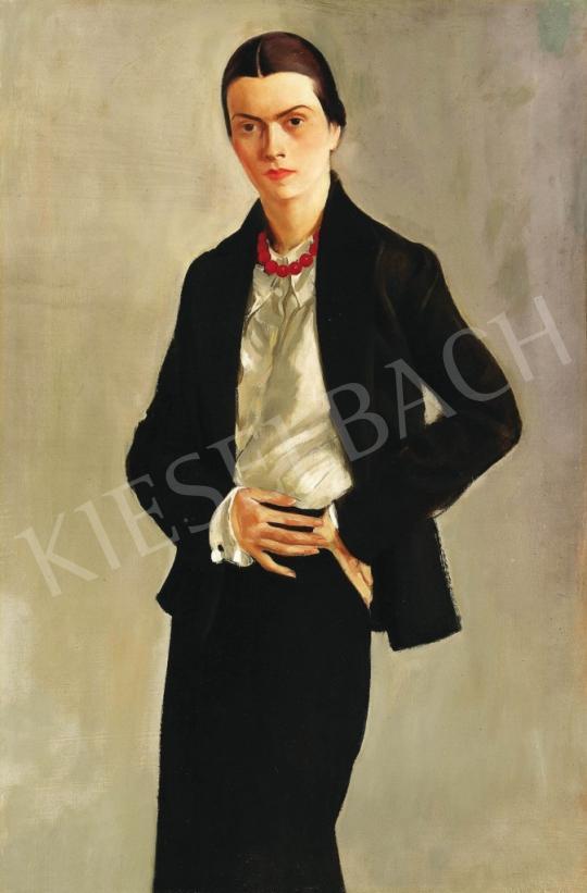 Ismeretlen festő - Hölgy piros gyöngysorral   37. Aukció aukció / 222 tétel