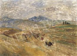 Kernstok Károly - Dombos táj kis tehénnel