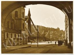Danassy Károly - A Piarista közből a régi Erzsébet-híd, 1940 körül