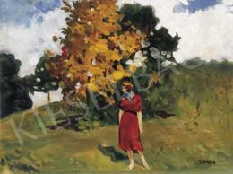 Thorma János - Pirosruhás lány nagybányai őszi tájban