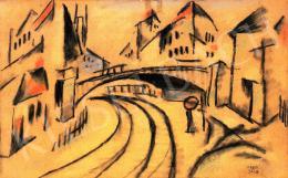 Kádár Béla - Város híddal (Zollner Brucke Wien), 1920 körül