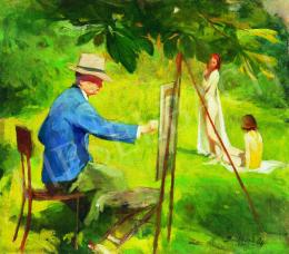 Benkhard, Ágost - In the Open Air (István Réti is Painting), 1935