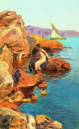 Nádler Róbert - Pihenő akt a tengerparton (Dalmácia)