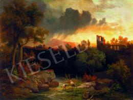 Molnár József - Romantikus táj várrommal és gólyákkal