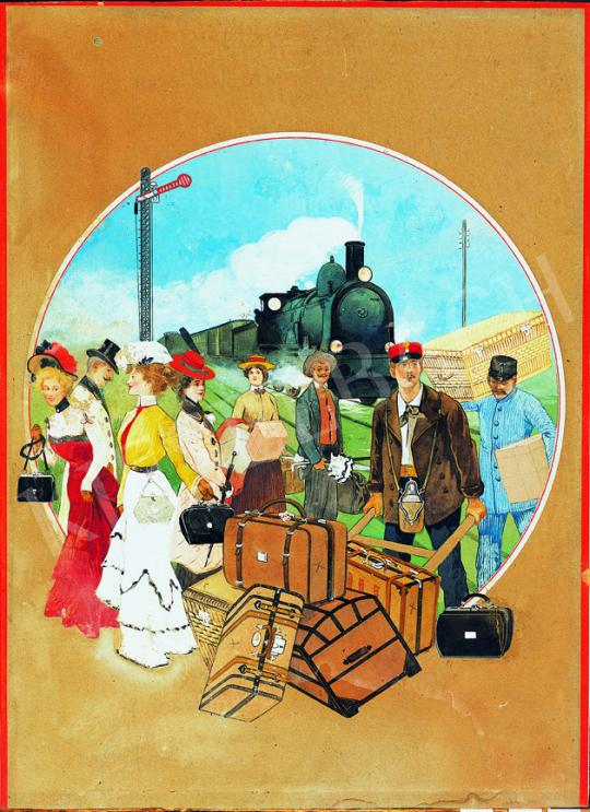 Unknown Hungarian painter around 1905 - Train Station | 38th Auction auction / 40 Item