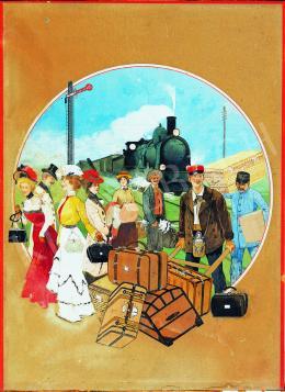 Ismeretlen magyar festő 1905 körül - Vasútállomás