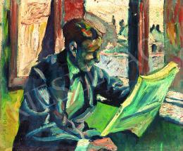 Scheiber Hugó - Újságolvasó férfi, 1918 körül