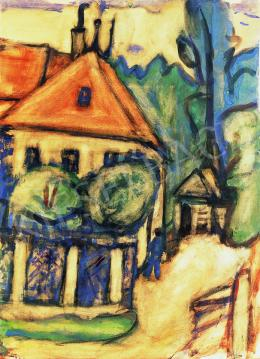 Czóbel Béla - Zöldlombú ház előtt, 1922