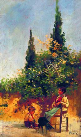 Ismeretlen festő - Pihenő gyerekek