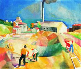 Patkó, Károly - Sunlit Italian Landscape (Brick Factory), 1930
