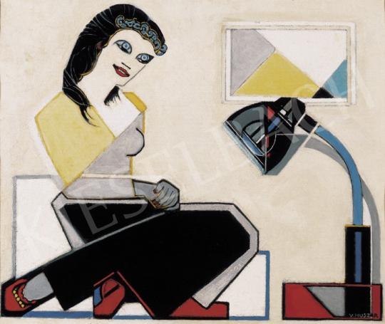 Huszár Vilmos - Fiatal nő geometrikus képpel és Bauhaus- lámpával | 19. Aukció aukció / 109 tétel