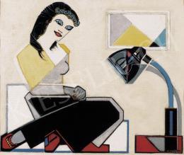 Huszár Vilmos - Fiatal nő geometrikus képpel és Bauhaus- lámpával