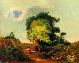 Ujházy Ferenc - Pásztor vihar előtti tájban