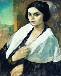 Vadász Endre - Lány fehér kendővel