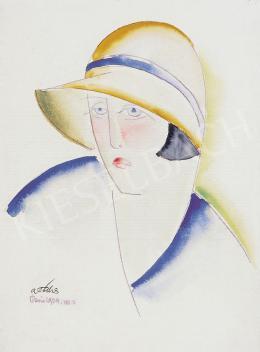 A. Tóth Sándor - Art deco nő kalapban, 1929