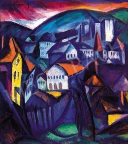 Schönberger Armand - Dombos táj házakkal, 1924