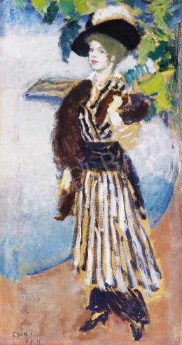 Csók István - Kalapos hölgy, 1914