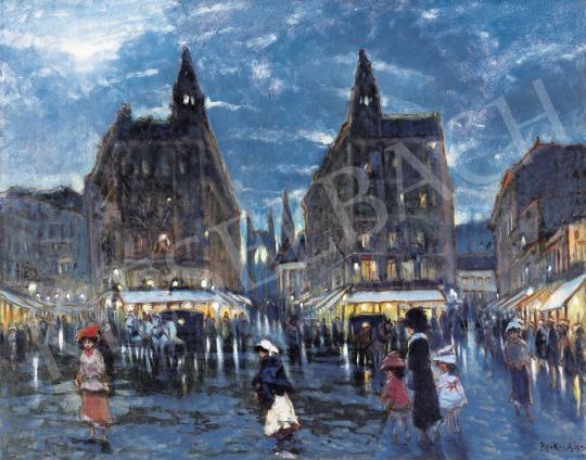 Berkes Antal - Klotild Paloták esti fényben, háttérben az Erzsébet híddal   39. Aukció aukció / 21 tétel