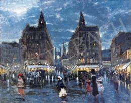 Berkes Antal - Klotild Paloták esti fényben, háttérben az Erzsébet híddal