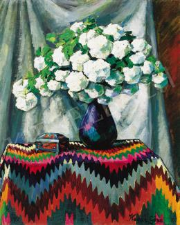 Kádár, Géza - Snowball Flowers in Blue Vase