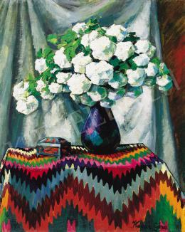 Kádár Géza - Labdarózsák kék vázában