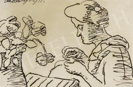 Vaszary János - Hölgy virágcsokorral (1911)