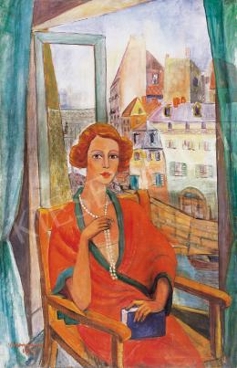 Walleshausen Zsigmond - Ablakban ülő hölgy gyöngysorral, 1927