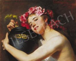 Angyalffy Erzsébet - Lány korsóval, rózsakoszorúval, 1892