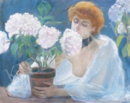 Kunffy, Lajos - Red Haired Lady with Hortensias
