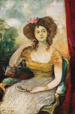 Gulácsy Lajos - Karosszékben ülő leány (Bálozó nő)