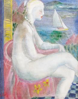 Klie Zoltán - Gyöngysoros akt, háttérben vitorlással, 1930 körül