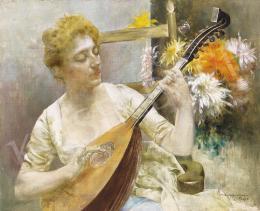 Karlovszky Bertalan - Párizsi nő mandolinnal, háttérben virágokkal