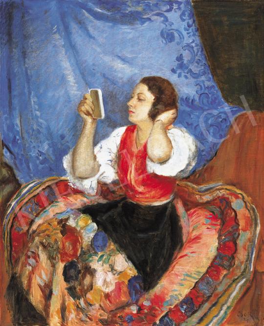 Csók István - Szépítkező lány (Bajor Gizi), 1925 körül | 39. Aukció aukció / 177 tétel