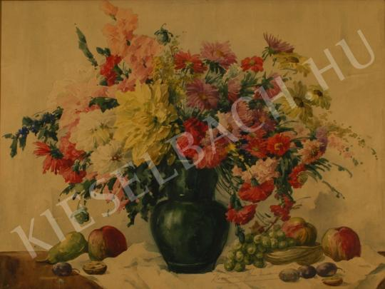 Komáromi-Kacz, Endréné (Kiss, Sarolta) - Still-life of Flowers with Fruits painting