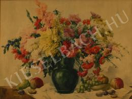 Komáromi-Kacz, Endréné (Kiss, Sarolta) - Still-life of Flowers with Fruits