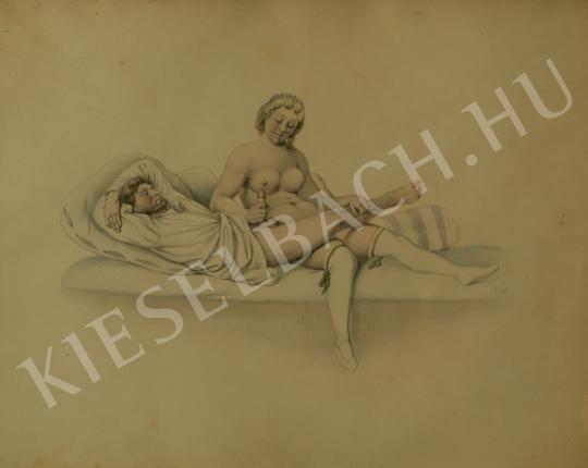 Ismeretlen festő - Erotikus jelenet festménye