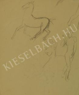 Kernstok, Károly - Portrait of a Man, Horse and Female Nude
