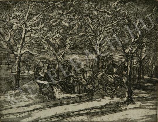 Kernstok, Károly - Horse Sleigh painting