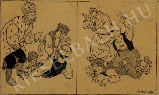 Zórád Géza - Politikai karikatúra festménye