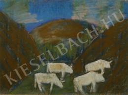 Nagy István - Legelésző tehenek, 1930 körül