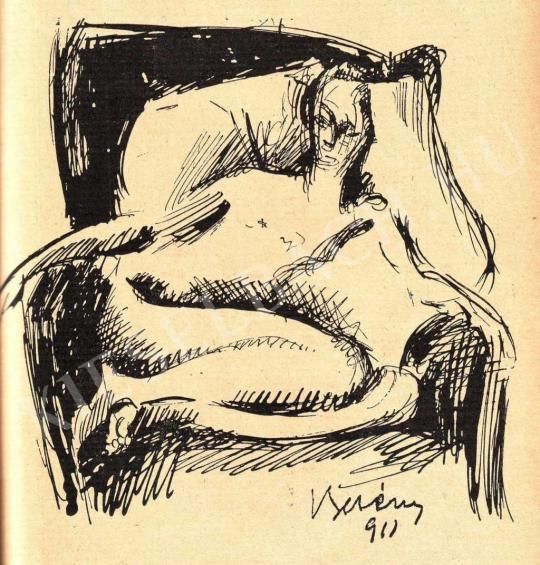 Berény Róbert - Vázlat a Fotelben ülő akt c. Festményhez, 1911 festménye