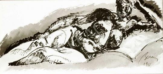 Berény Róbert - Fekvő női akt, 1911 festménye