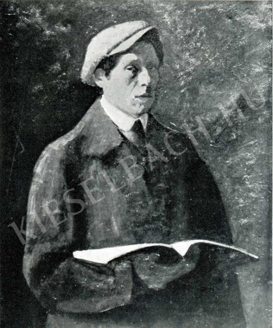 Czigány Dezső - Önarckép könyvvel, 1910-1911 festménye
