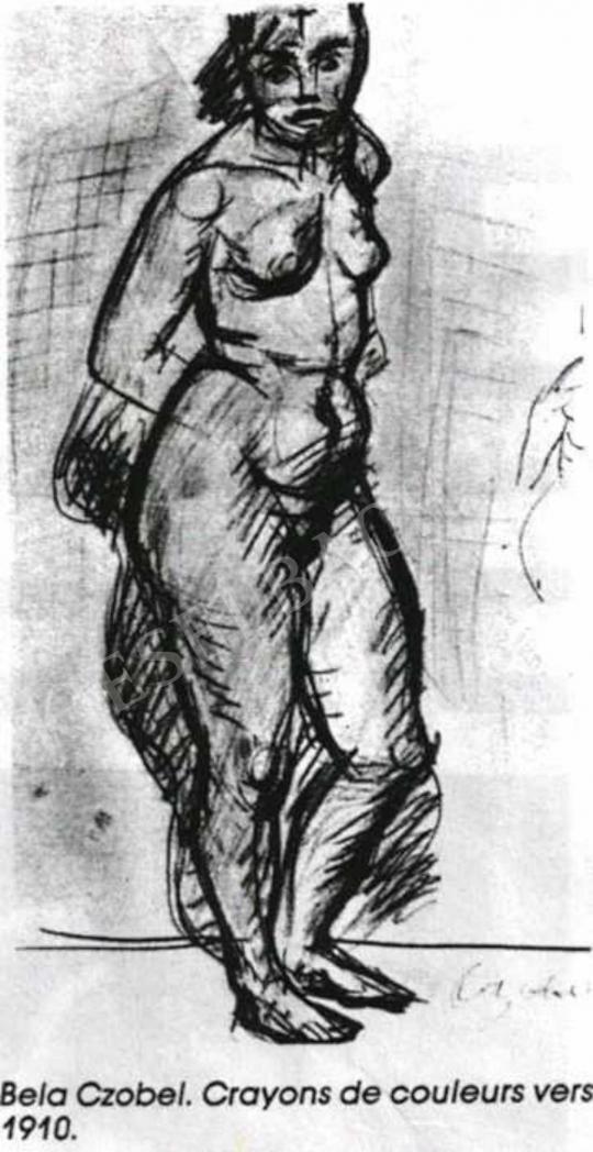 Czóbel Béla - Akttanulmány, 1910 festménye