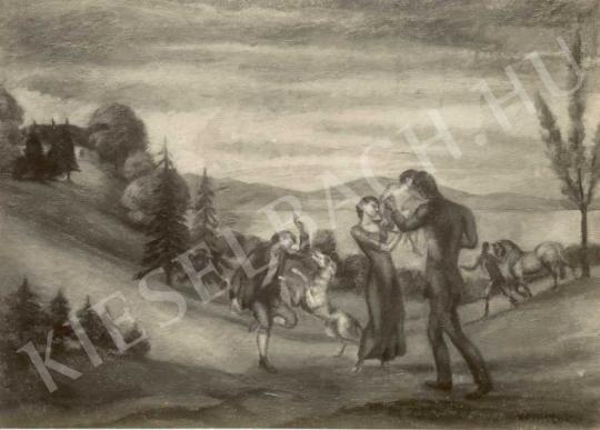 Kernstok Károly - Játék a réten, 1910-es évek festménye
